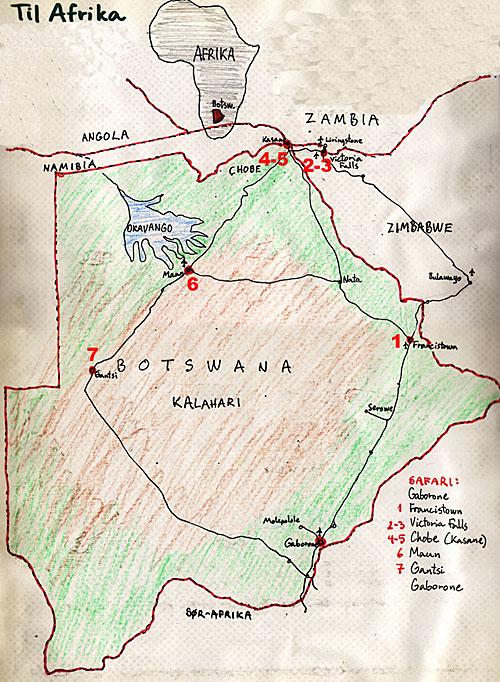 kalahariørkenen kart Afrika tur påsken 2000 kalahariørkenen kart